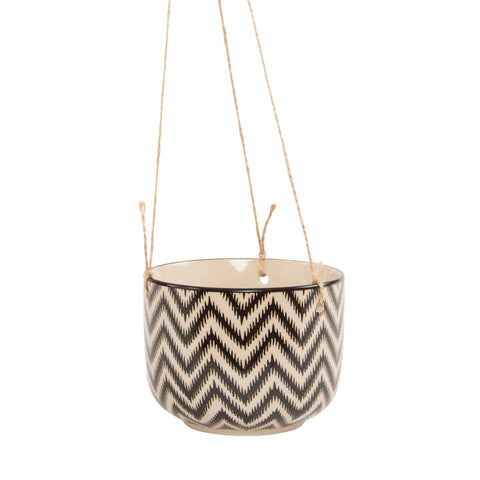 Monochrome Chevron Hanging Planter