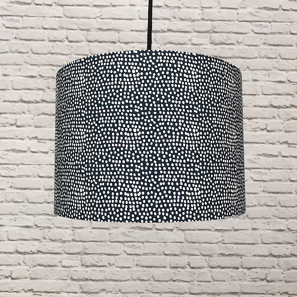 Navy And White Polka Dot 30cm Lampshade