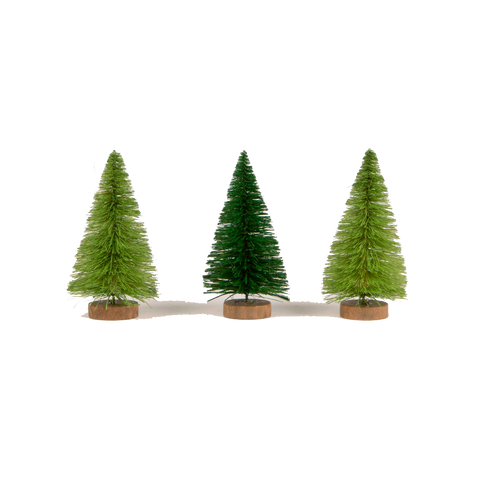 Set Retro Style Fir Christmas Trees