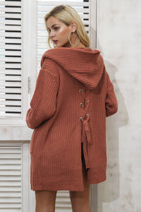 Long Hooded Pocket Cardigan