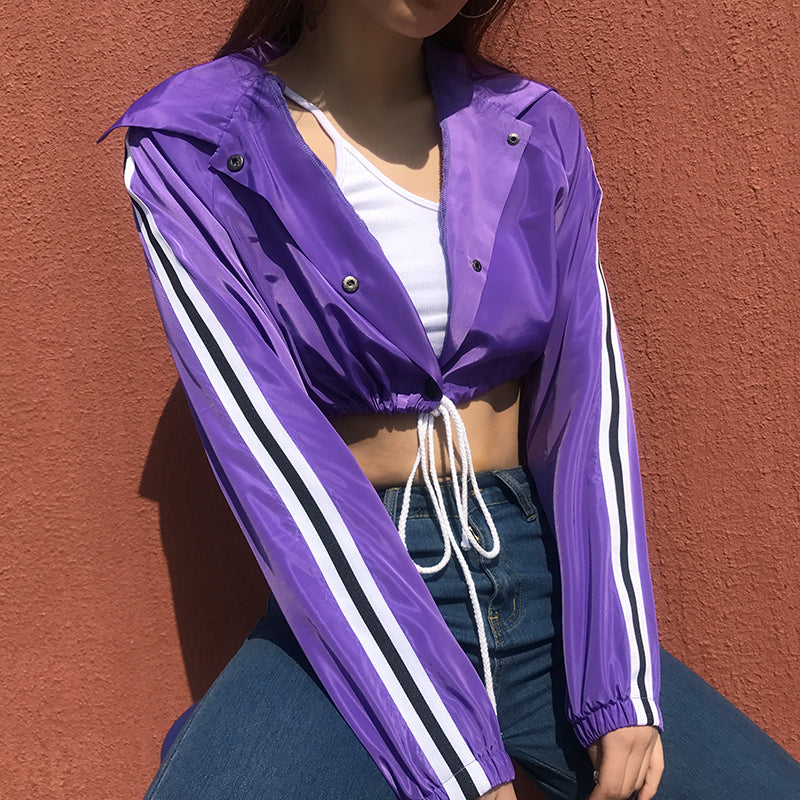 Purple Cropped Long Sleeve Jacket