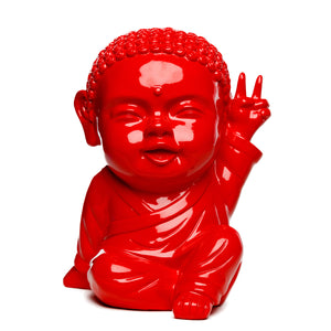 Statuette Iki, le pop bouddha rouge, fabriquée et vendue par The Happy Factory
