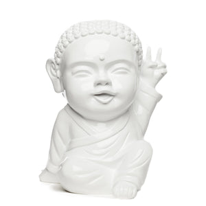 Statuette Iki, le pop bouddha blanc, fabriquée et vendue par The Happy Factory
