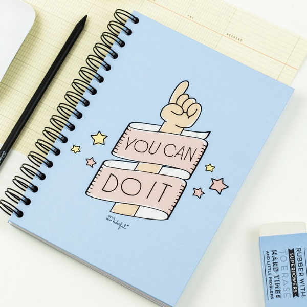 "Cahier, titre : ""you can do it"", marque Mr Wonderful, vendu sur shop.the-happy-factory.com"