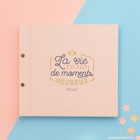 Album souvenir la vie est faite de moments heureux, marque Mr Wonderful, vendu sur le concept store The Happy Factory