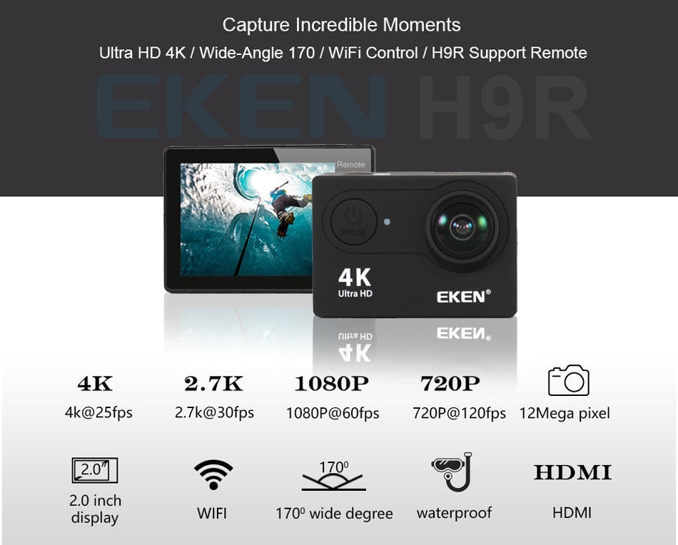 Caméra de sport full HD 4K waterproof  wifi grand angle