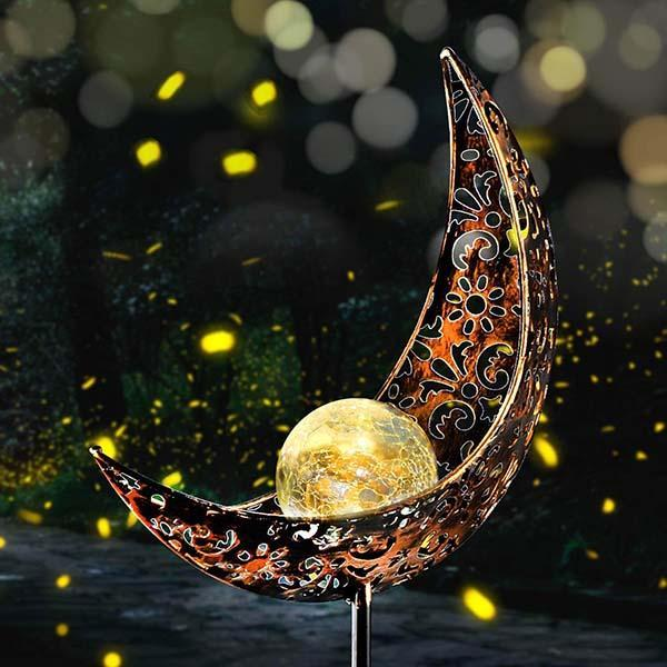 Solar Moon Crackle Garden Decor Light