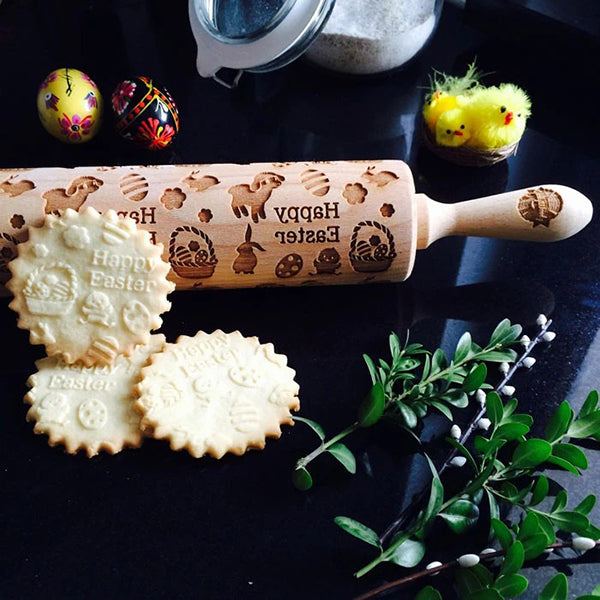 Easter Rabbit Wooden Embossing Rolling Pin