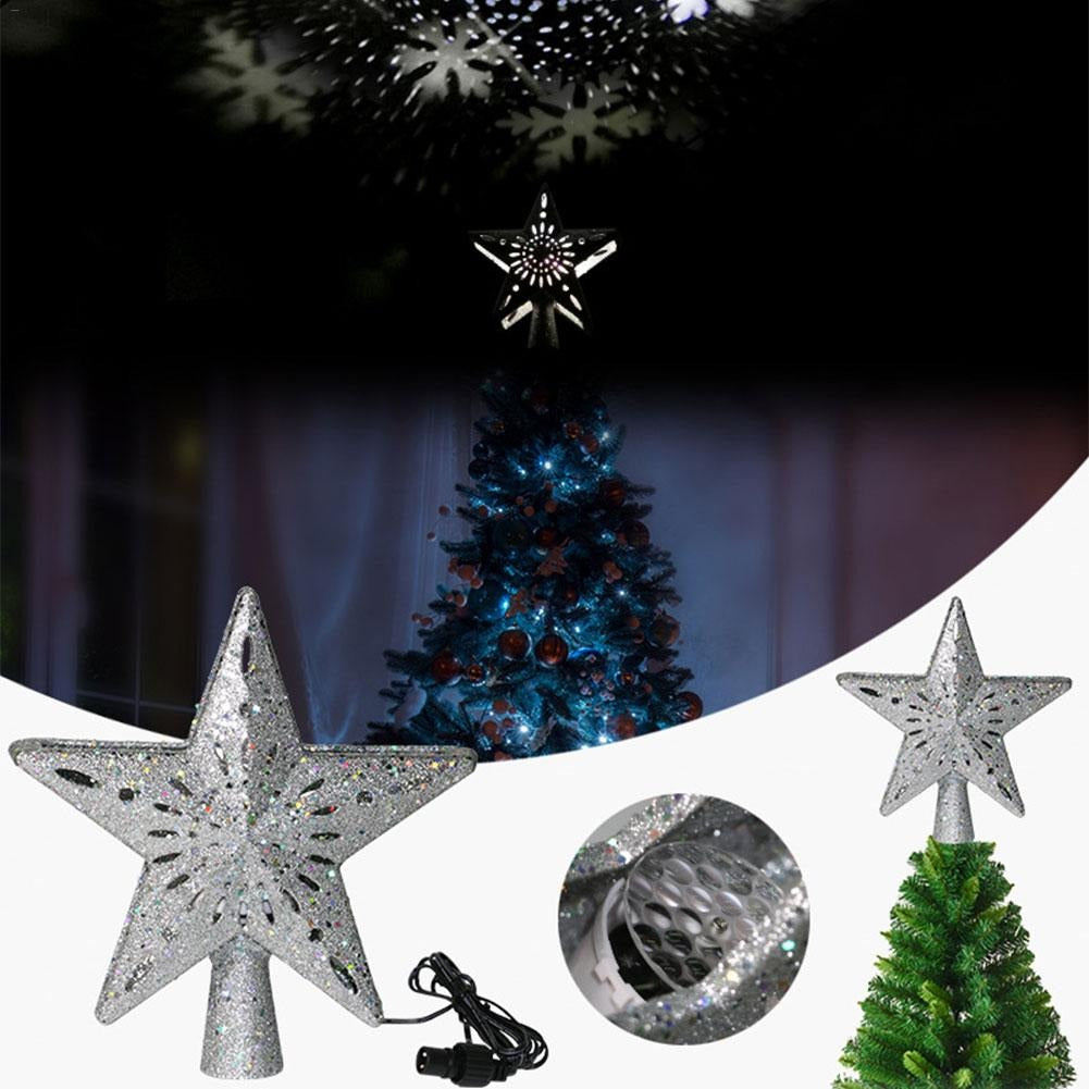 3D Hollow Gold Star Christmas Tree Topper Light