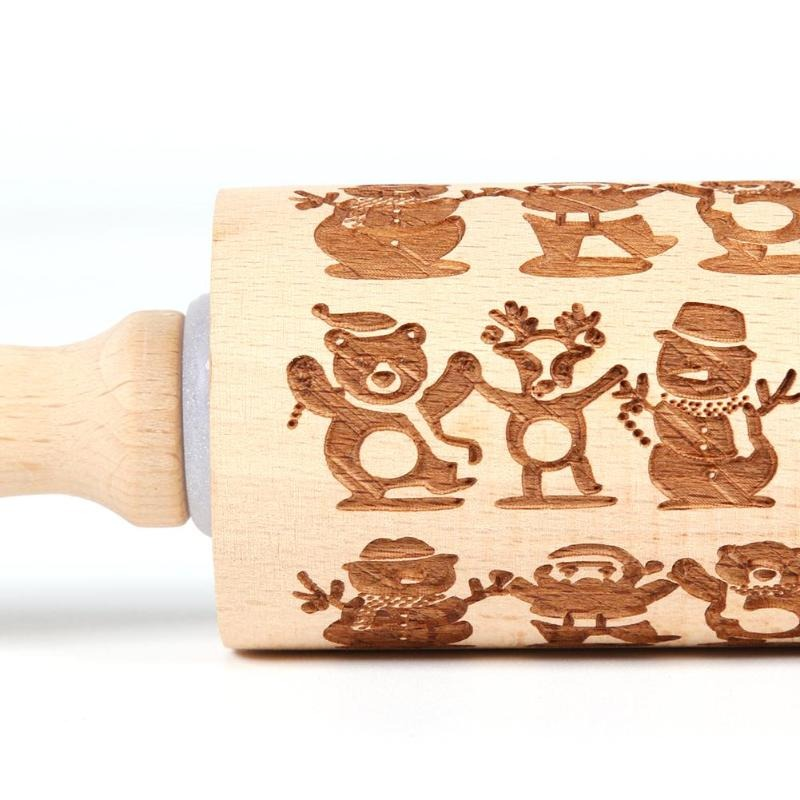 Christmas Embossing 3D Rolling Pin Baking