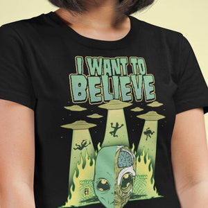 i Want To Believe Alien Paranormal Ufo T-Shirt