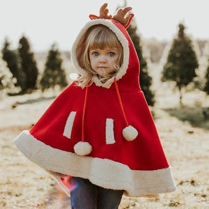 Cartoon Reindeer Pompon Embellished Cloak