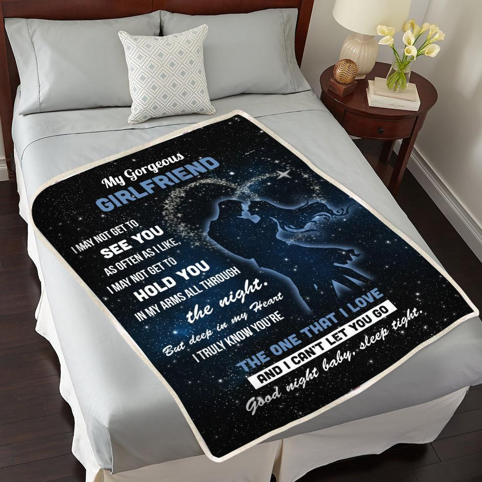 Girlfriend Blanket To My Gorgeous Girlfriend Good Night Baby Sleep Tight Fleece Blanket - Gifts For Girlfriend
