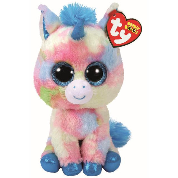 Blitz the Blue Multicoloured Unicorn Beanie Boo - Medium