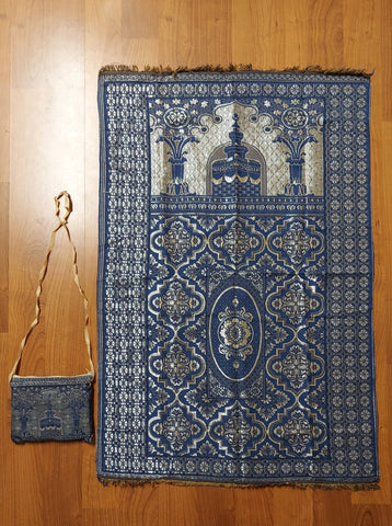 Muslim Travel Mat, Islamic Prayer Rug janamaz Turkish Sajda Mat Best Qualiy- BLUE