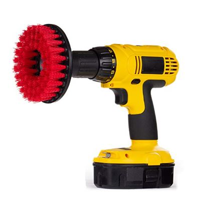 "5"" Power Scrubbing Drill Brush (Stiff Red)-For Heavy Duty Cleaning - TDKNY"