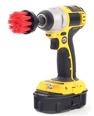 "2"" Power Scrubbing Drill Brush (Stiff Red)-For Heavy Duty Cleaning - TDKNY"