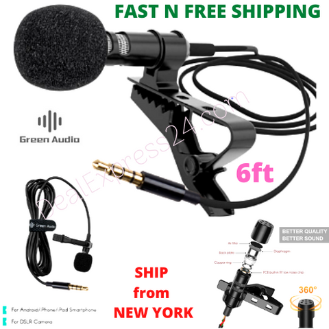 Profesional High-Quality Lavalier Microphone  For Canon, Nikon,DSLR, Phones,Interview- 6ft