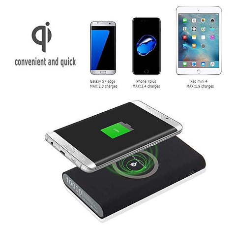 3 in1 Wireless FastCharg Qi Power Bank 10000mAh for iPhone & Android - TDKNY