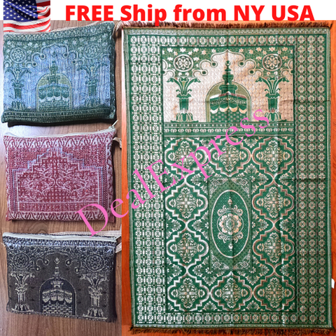 Muslim Travel Mat, Islamic Prayer Rug janamaz Turkish Sajda Mat Best Quality-GREEN