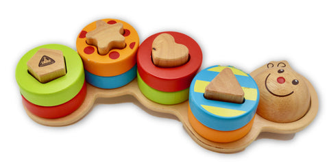 Wooden Caterpillar shape sorter by ELC - Learning steps