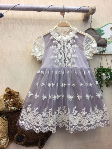 Dress Flower - Purple White