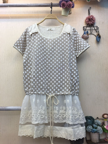Dress Light Brown White - Nyari.id