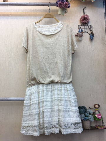 Dress Beige White - Nyari.id