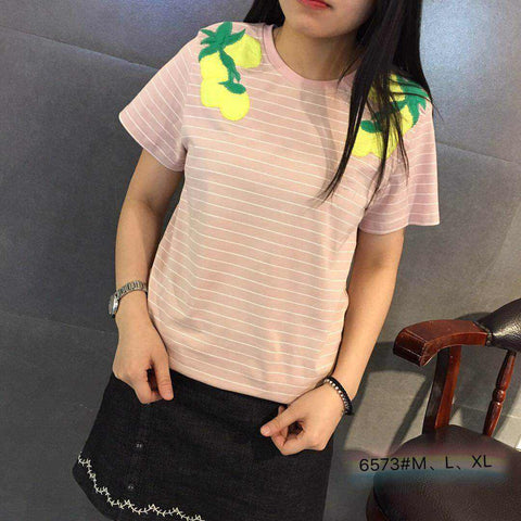 Kaos Fashion Wanita Ala Korea - Fruity Summer Stripe 6573 - Nyari.id