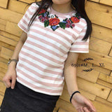Kaos Fashion Wanita Ala Korea - Hana Flower Full Stripe 6591 - Nyari.id