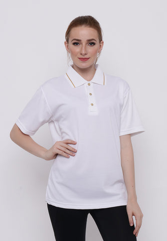 Hitscore Kaos Polo Shirt Striped Collar Short Sleeve White