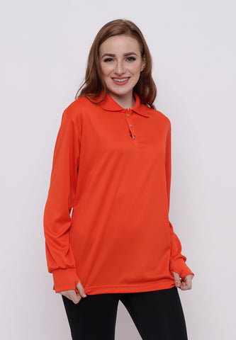 Hitscore Kaos Polo Shirt Long Sleeve Orange
