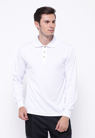 Hitscore Kaos Polo Shirt Long Sleeve White - Nyari.id