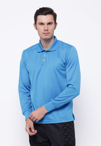 Hitscore Kaos Polo Shirt  Long Sleeve Blue - Nyari.id