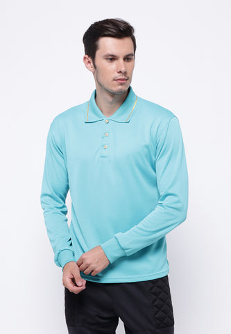 Hitscore Kaos Polo Shirt Striped Collar Long Sleeve light Blue