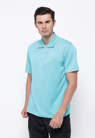 Hitscore Kaos Polo Shirt Striped Collar Short Sleeve Light Blue