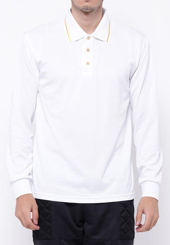 Hitscore Exclusive Kaos Polo Striped Collar Shirt Long Sleeve White - Nyari.id