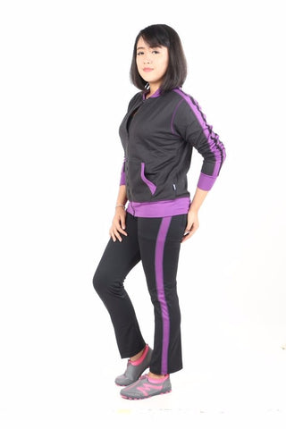 Training Set Angel Fashion Wanita Black - Purple - Nyari.id