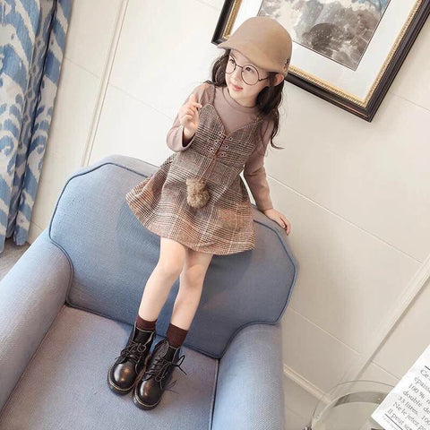 Kids Set Dress Dark Brown