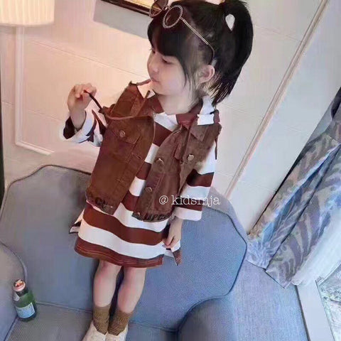 Kids Set Dress With Brown Vest - Nyari.id