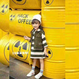 Kids Set Dress With Green Vest