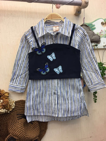 Kids Top Shirt with Blue Butterfly Vest