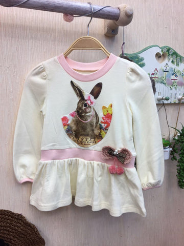 Kids Top White Pink Rabbit