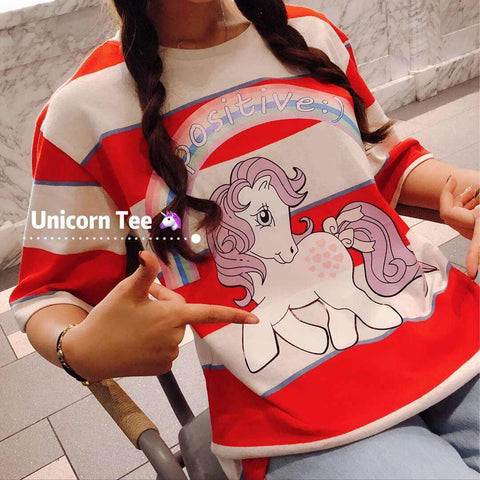 Kaos Fashion Wanita Ala Korea - Nancy Unicorn Oversized Tee - Nyari.id