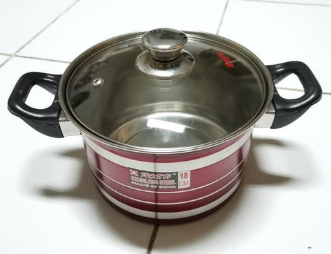 Panci Stainless Steel Tutup Kaca Rosh Saucepot Red Sea