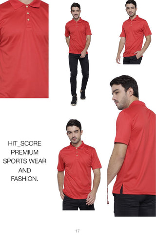 Hitscore Kaos Polo Shirt Short Sleeve Red - Nyari.id