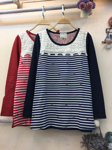Ladies Top TShirt Stripe - Nyari.id