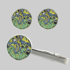 Irises, Tie Clip and Cufflinks Set