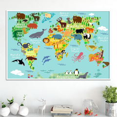 Animals Cartoon Map Painting