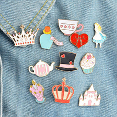 Alice in Wonderland Enamel Pins Set